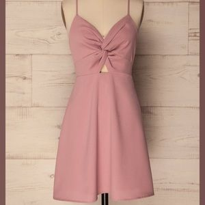 Dusty rose twist front dress - size S